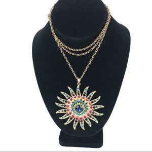 Large Starburst Rhinestone Necklace Multi-Color
